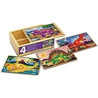 Melissa & Doug Rompecabezas de dinosaurio en una caja, cuatro rompecabezas de madera, bellas ilustraciones, resistente caja de almacenamiento de madera, 12 piezas, 20.32 cm alto x 15.24 cm ancho x 6.35 cm largo