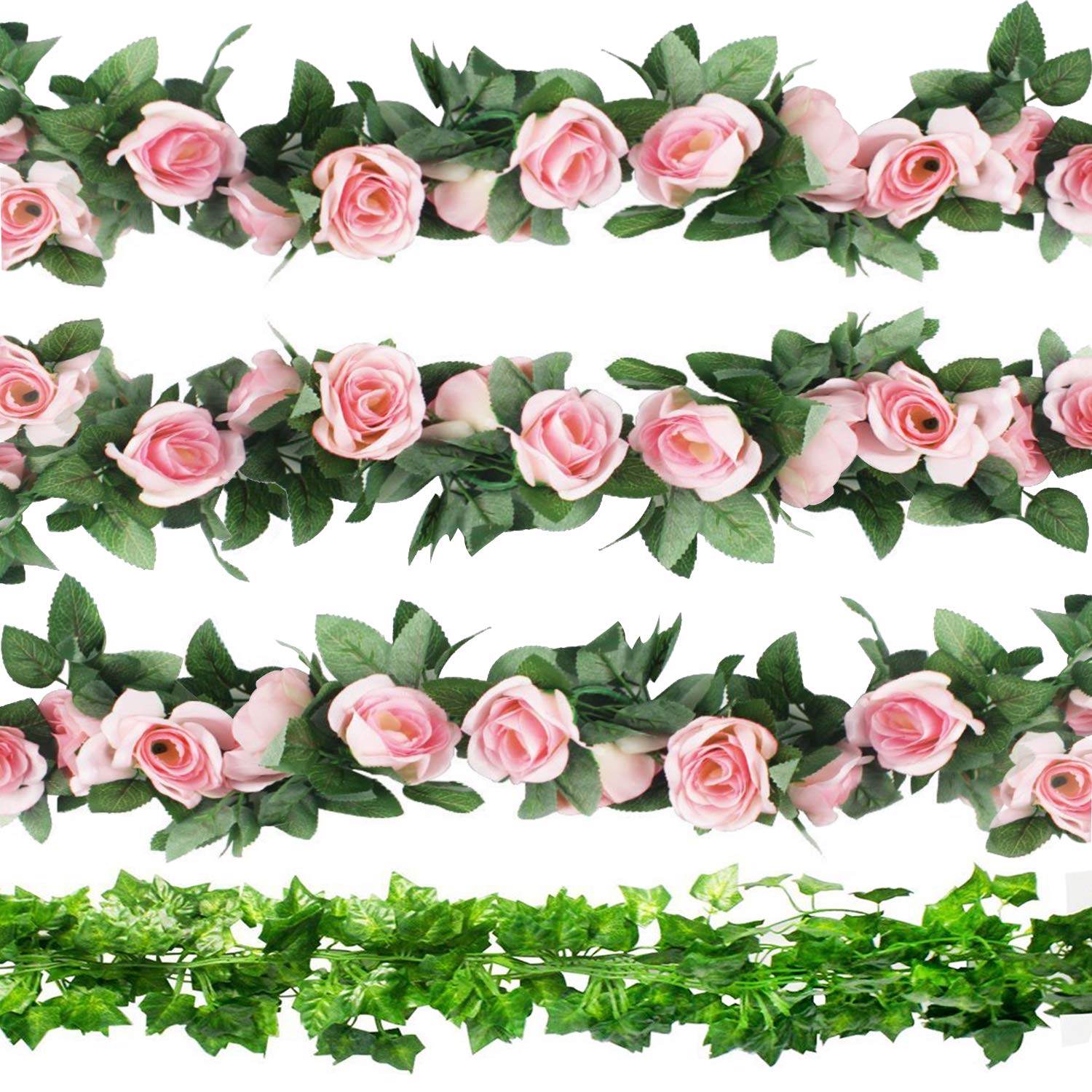 CEWOR 3pcs Artificial Rose Vines and 6pcs Artificial Ivy Artificial Flowers for Wedding Home Garden Party Decoration(Pink Rose) by CEWOR