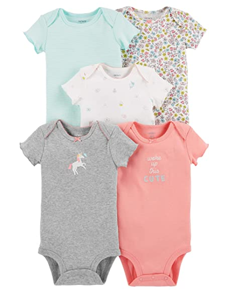 74682ab87 Amazon.com: Carter's Baby Girls 5 Pack Bodysuit Set, Unicorn Flowers, 6  Months: Clothing