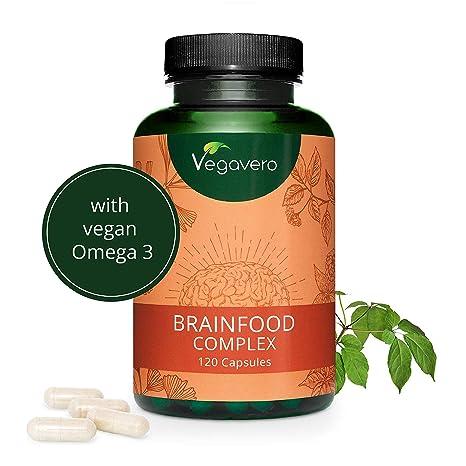 Memoria y Concentración Vegavero® | Ginseng + Omega 3 Vegano (DHA) + Cafeína de Guaraná + Ginkgo Biloba + Vitamina B12 | 120 Cápsulas | Nootrópico ...