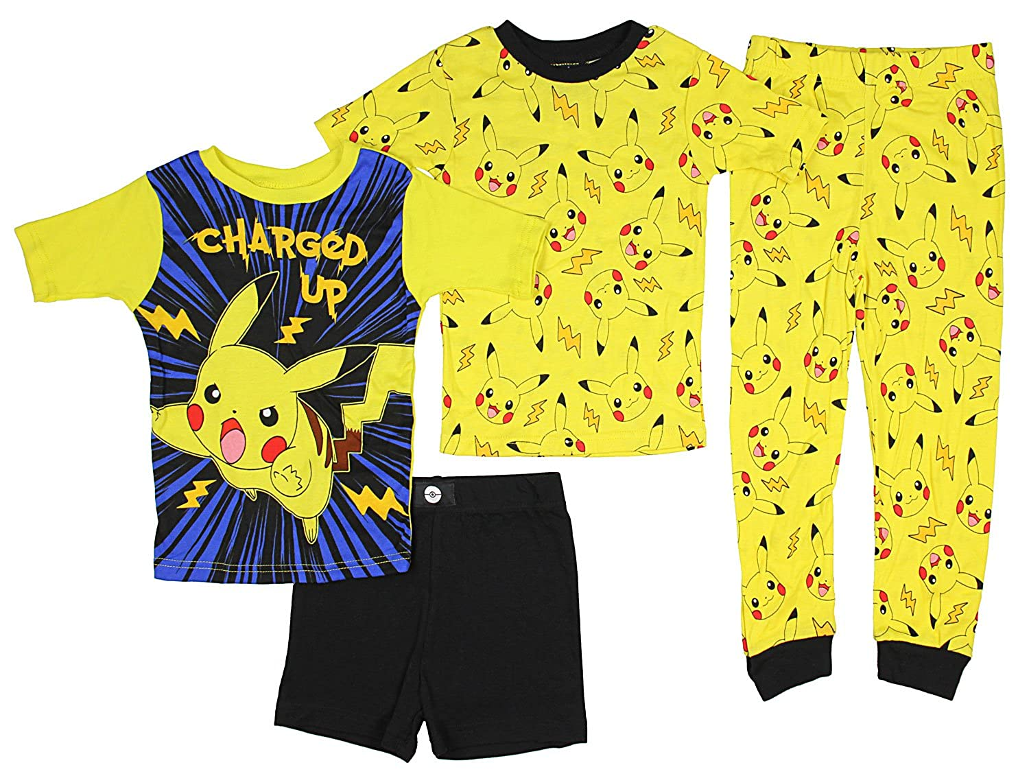 Pokemon Boys' Catch 'em All 4-Piece Cotton Pajama Set 21PK126BSLZA-P6