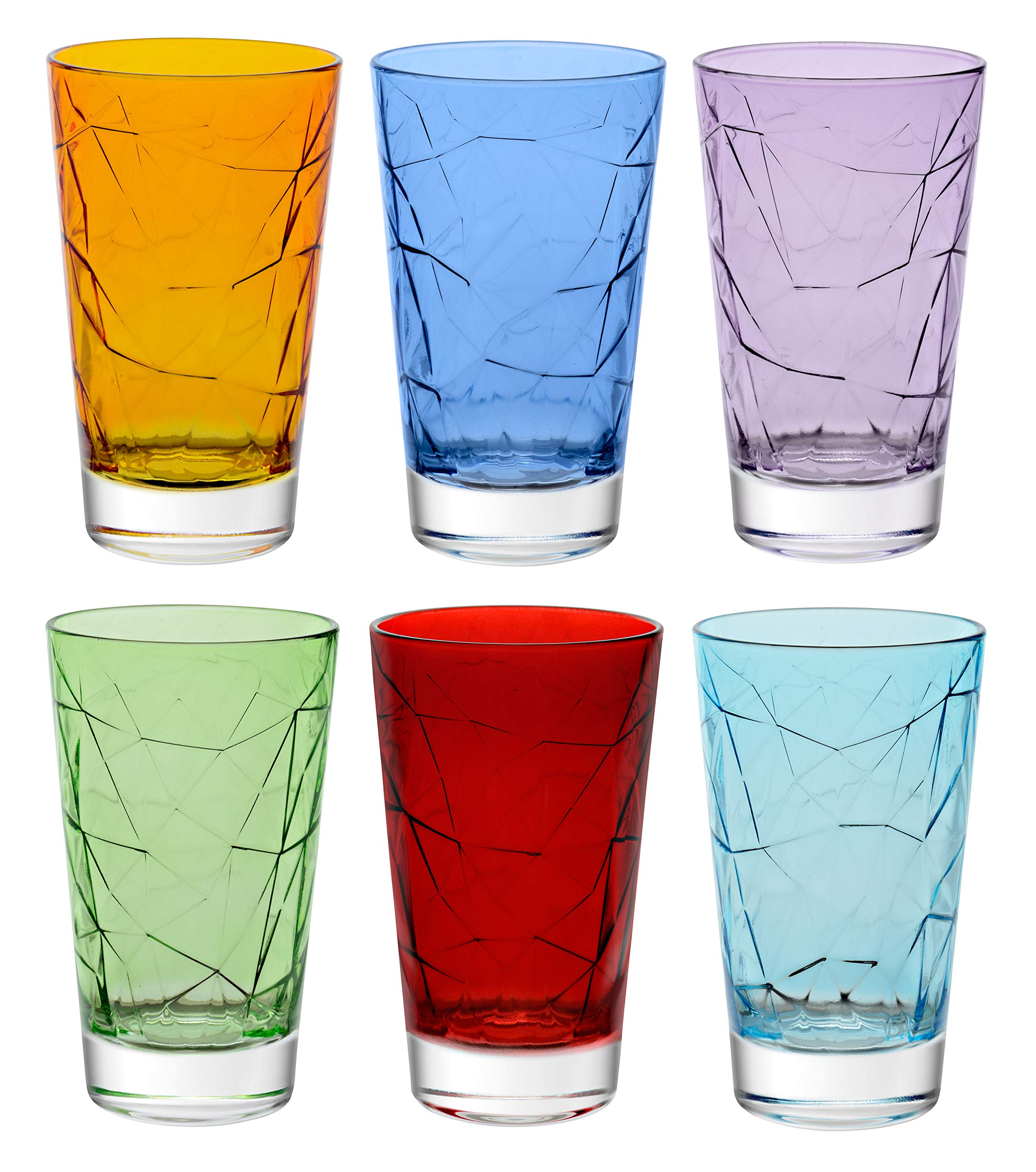 Barski - European Quality - Glass - Set of 6 - Assorted Colors - Highball - Hiball - Glasses - Tumblers - 14.2 Oz. - Made in Europe