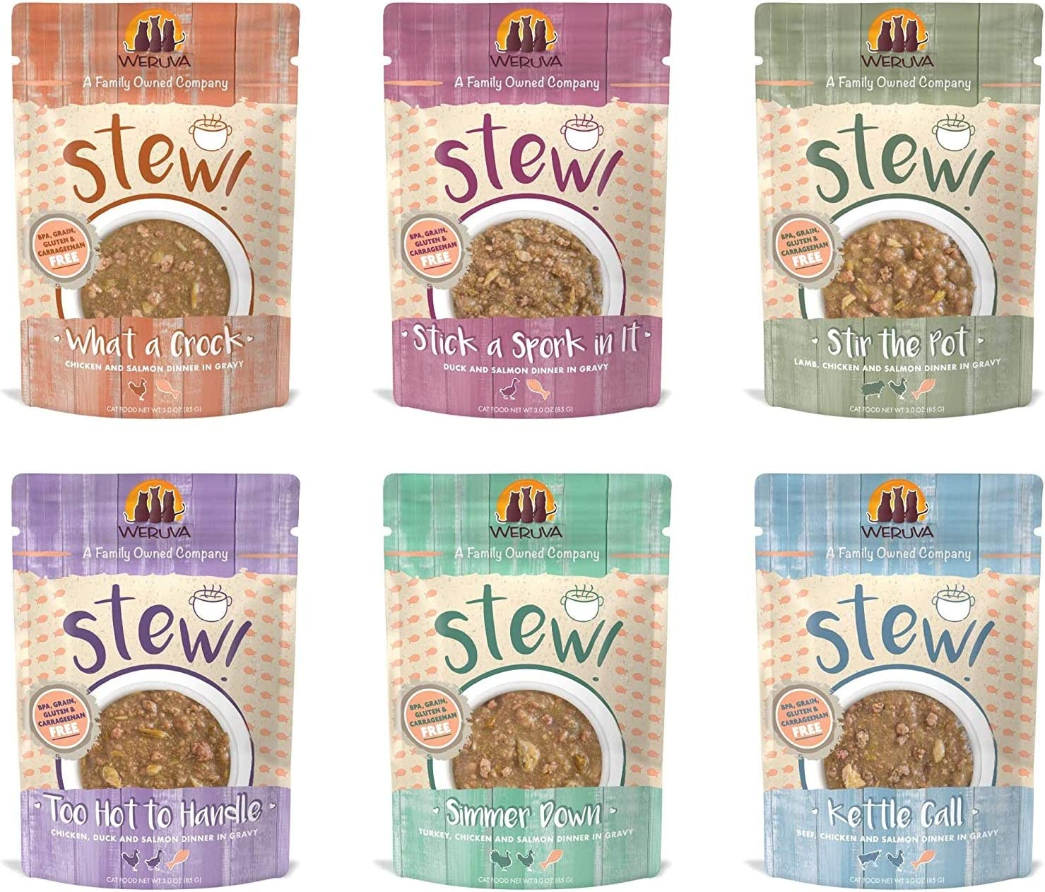 Weruva Stews 6 Flavor Grain Free Variety Pack Cat Food 3 Ounce Pouches (24 Pouches)