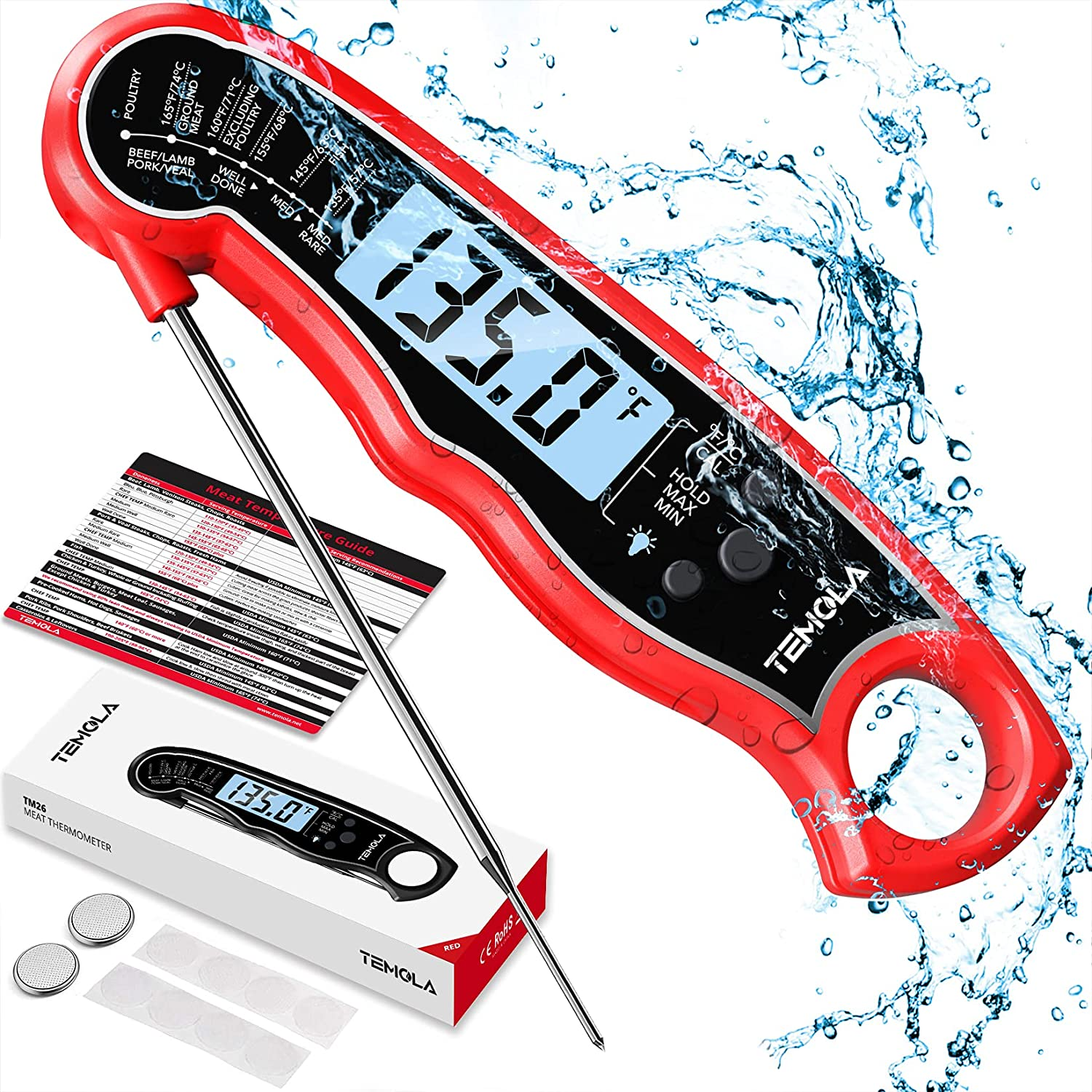 Meat Thermometer, Instant Read Food Thermometer with LCD Backlight Calibration, Waterproof Ultra Fast Digital Cooking Thermometer for Candy Deep Fry Liquids Turkey Kitchen Baking Smoker Grill BBQ