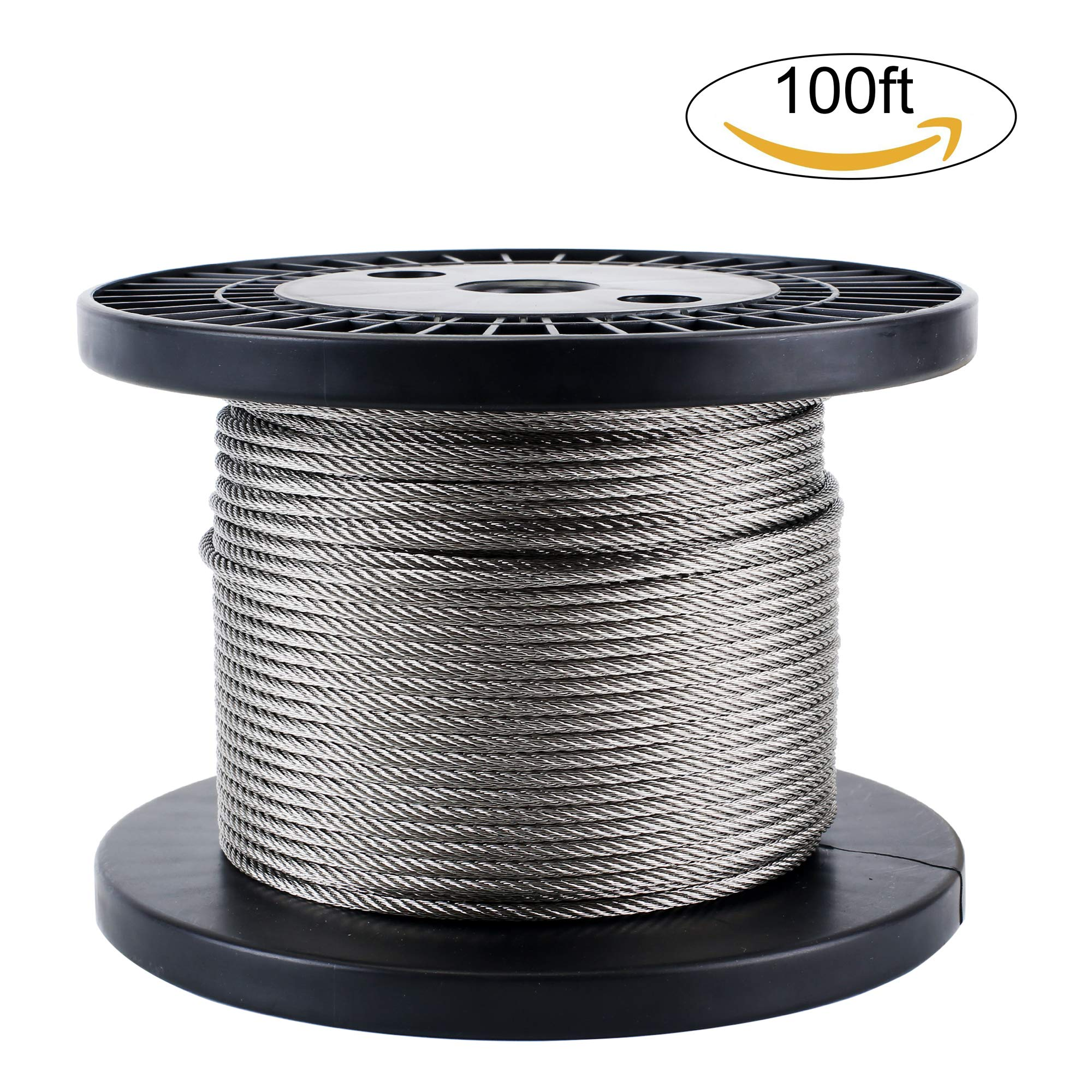 Zoostliss 100Ft Stainless Steel Aircraft Wire Rope 1/8'' for Deck Cable Railing Kit, 7x7 T316 Marin Grade by Zoostliss