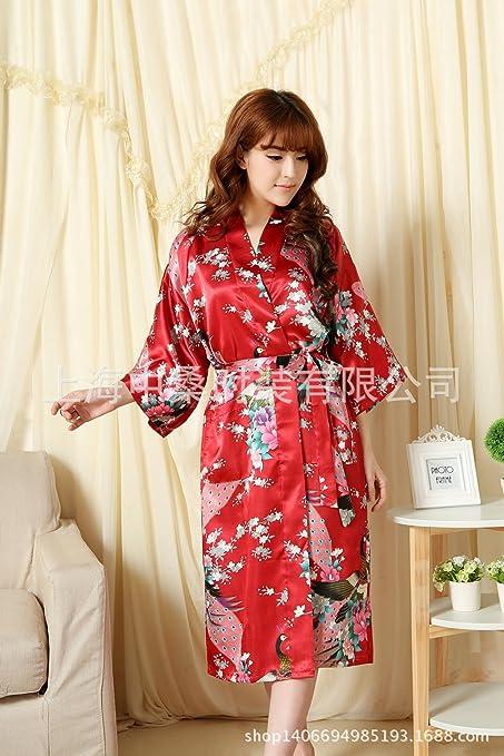 Wanglele Kimono Dressing Gown Satin Lace Gown Bathrobe Flower Silk ...