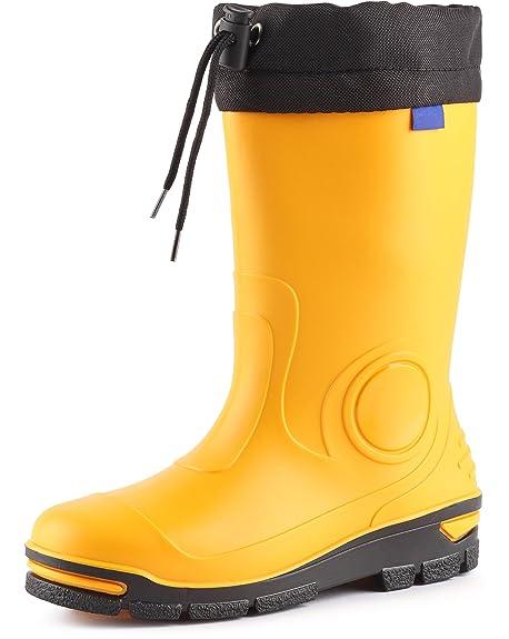 Ladeheid Botas de Agua Goma Zapatos de Seguridad Unisex Niños LARB014(Amarillo, 21/