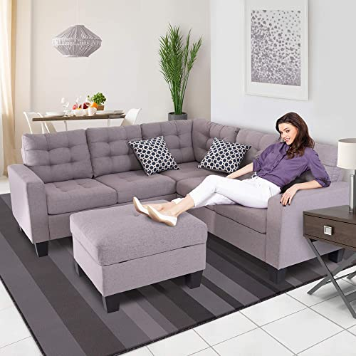 GOOD GRACIOUS Sectional Sofa Set, L-Shaped Couch with Reversible Storage Ottoman for Small Space Living Room, 100 Polyester Fabric, Taupe, 35.04 x 31.5 x 81.1