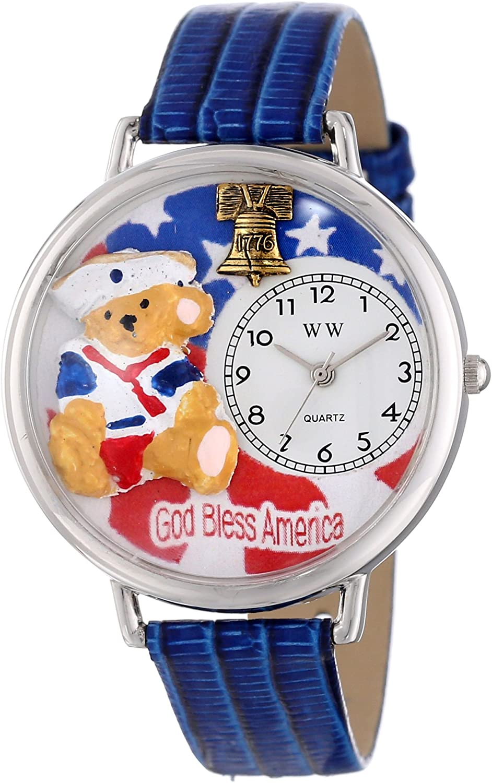 Whimsical Watches Unisex U0230004 Patriotic Teddy Bear Royal Blue Leather Watch