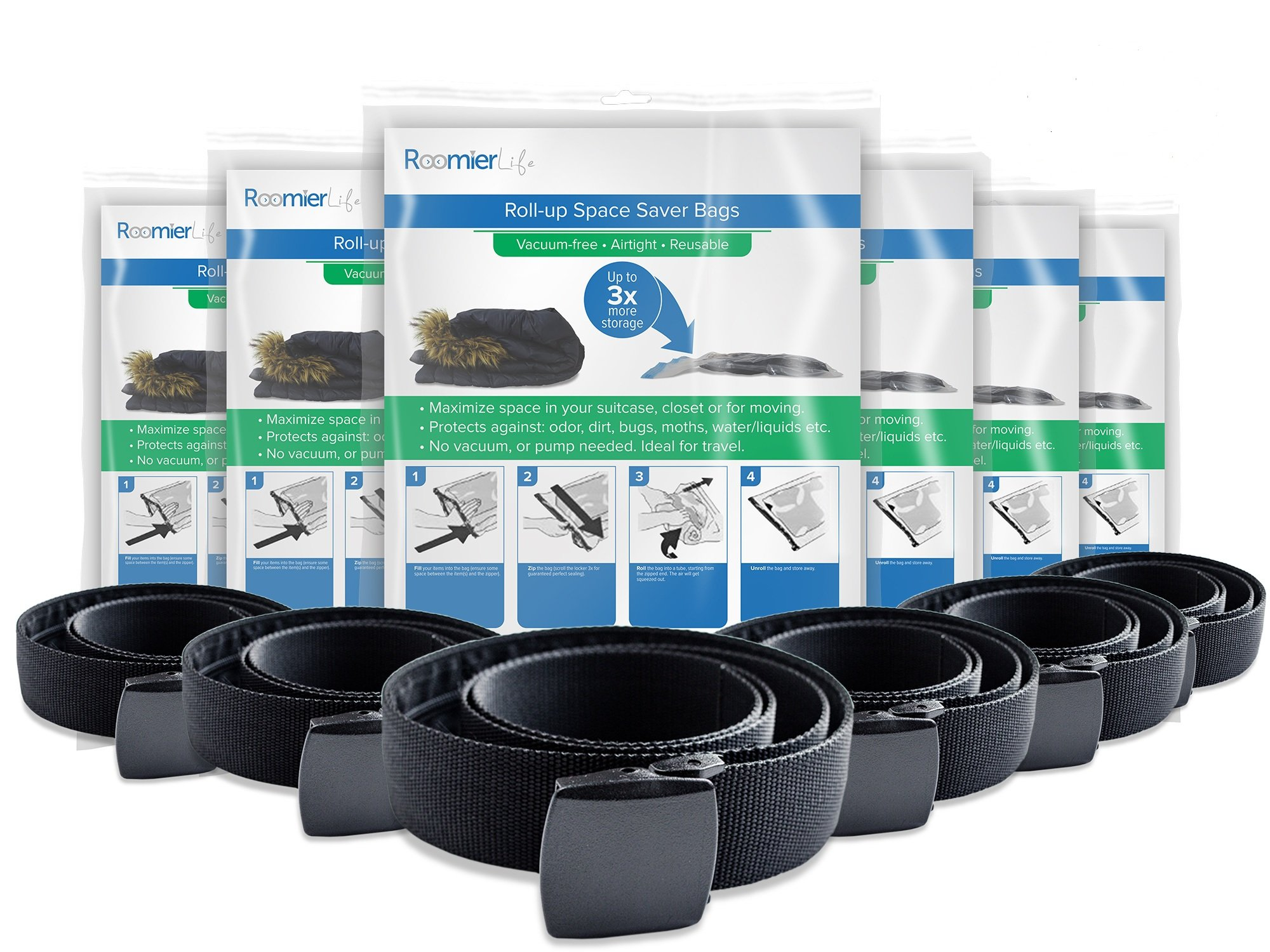 Travel Security Belt & Travel Space Saver Bags 6 Pack Bundle. Includes 6 belts & 6 packs of compression bags (48 bags total) by RoomierLife by VOLAR Bags