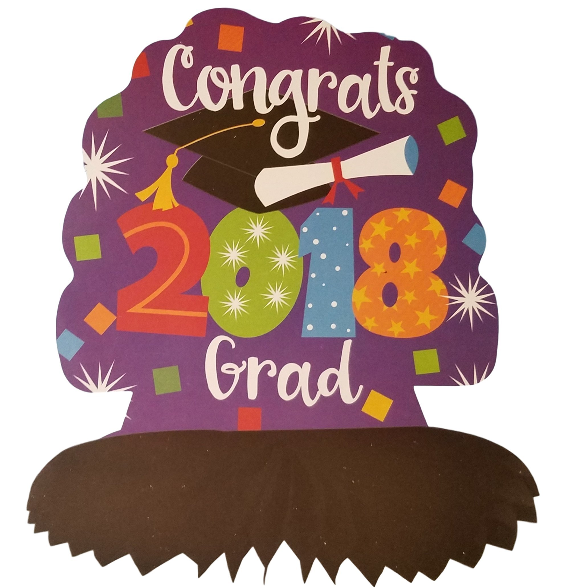 2018 Graduation Party Decorations Bundle: Accessories Include Congrats 2018 Grad Party Banner, Table Centerpiece, Cutouts, and a Beachball in a Confetti Design by TLP Party (Image #3)