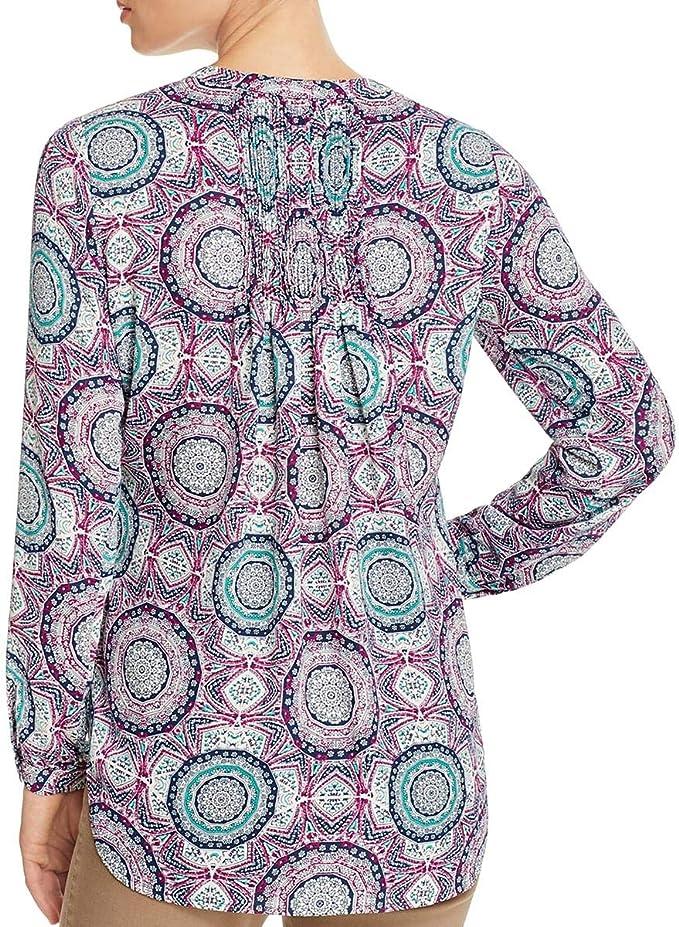 Foxcroft Womens Long Sleeve Hi-lo Medallion Print Blouse