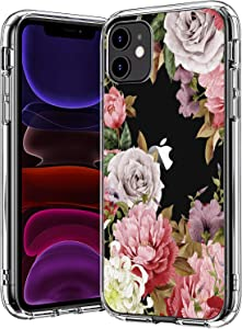 BICOL iPhone 11 Case Clear with Design for Girls Women,12ft Drop Tested,Military Grade Shockproof,Slip Resistant Slim Fit Protective Phone Case for Apple iPhone 11 6.1 inch 2019 Pink Purple Blossoms