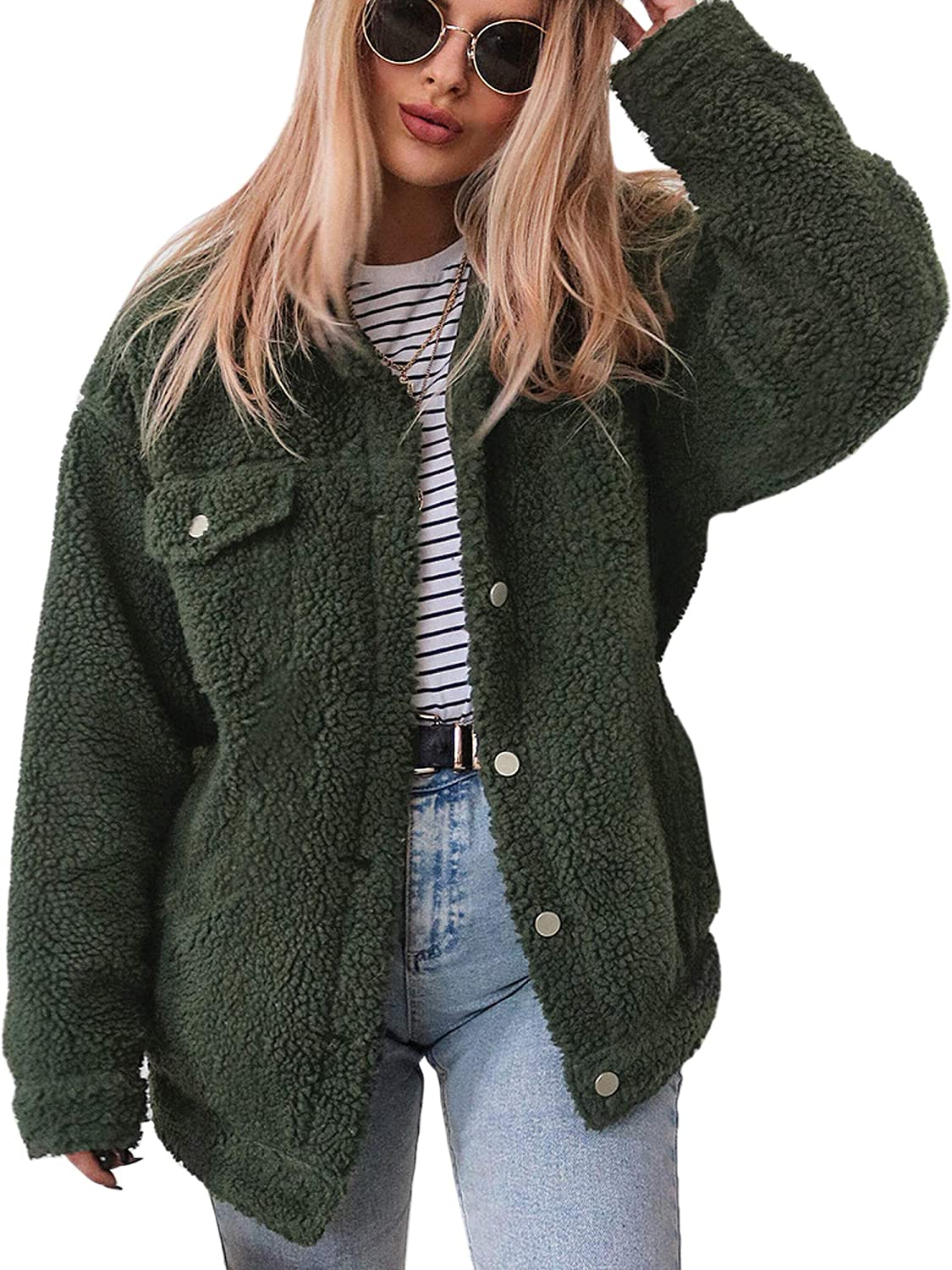 ECOWISH Women's Coat Casual Lapel Fleece Fuzzy Faux Shearling Zipper Warm Winter Oversized Outwear Jackets EH818