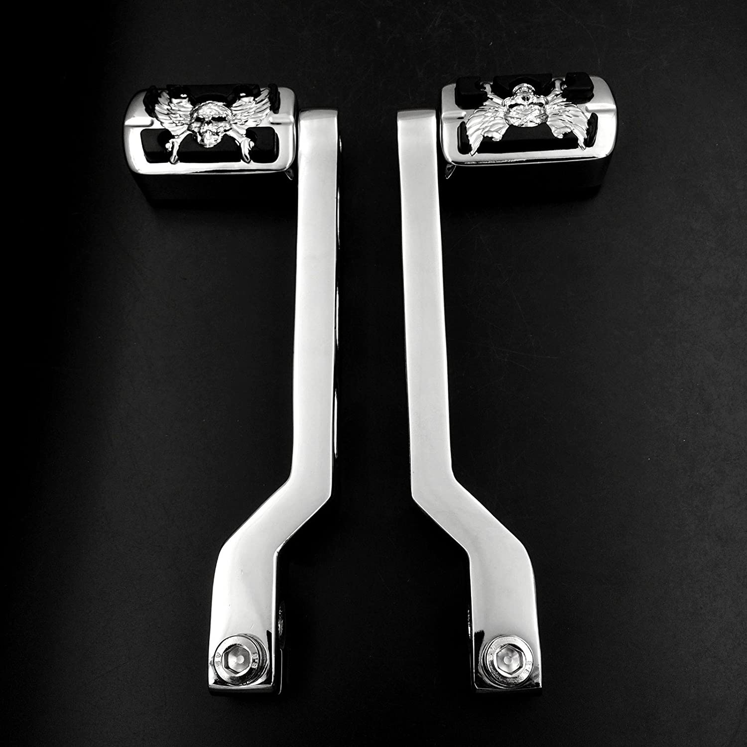 B013QAQW2U XKMT-Gear Shift Wing Skull Zombie Emblem Foot Lever pegs Compatible With Harley Softail Tour Electra Glide FLTS Heel Toe Chrome