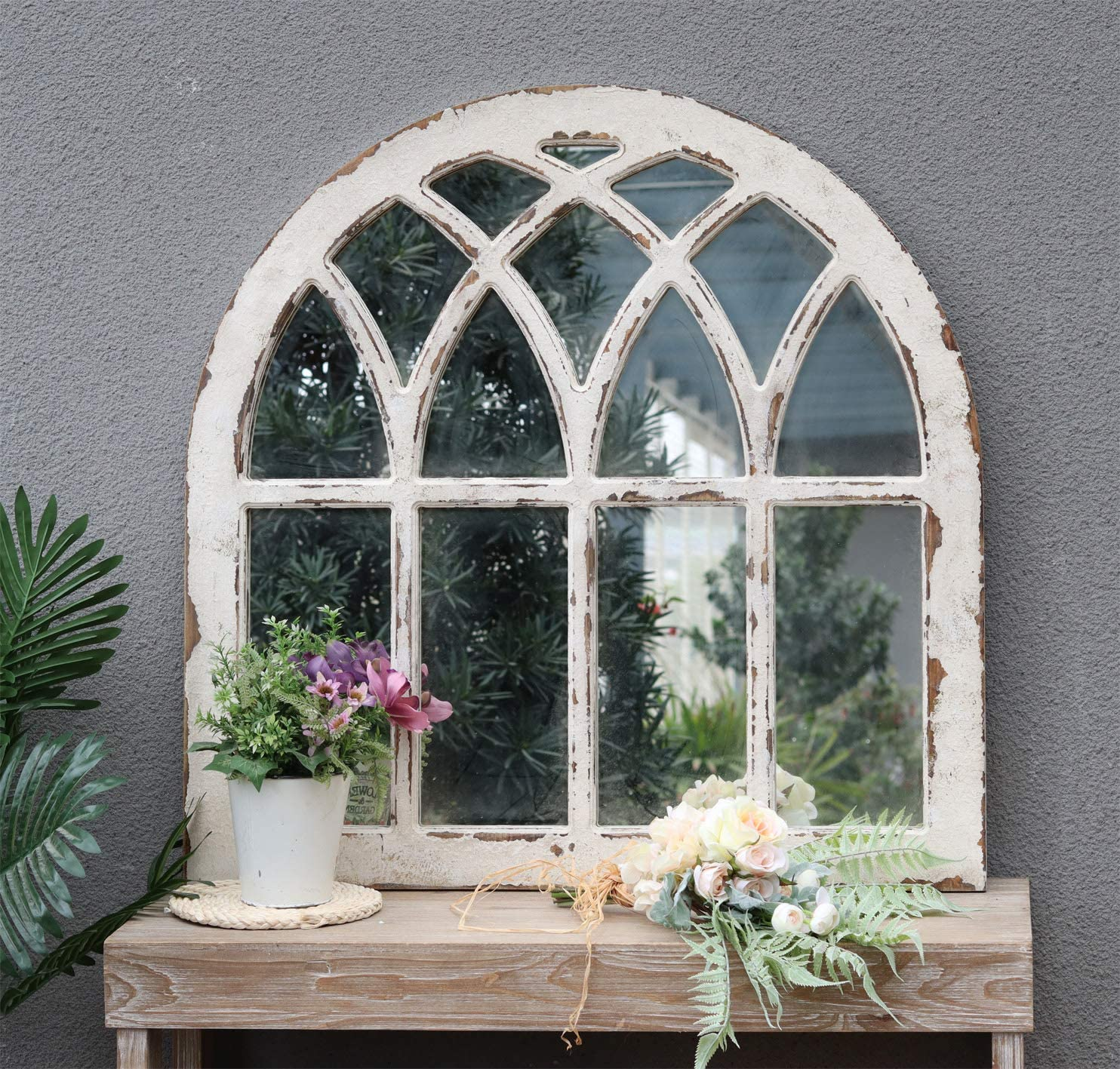 Rustic Arched Windowpane Wood Framed Wall Mirror, Cathedral Accent Wall Mirror, Shabby-Chic Farmhouse Wall Decor for Living Room, Bedroom, Dining Room or Entryway, Distressed White,31-7/8