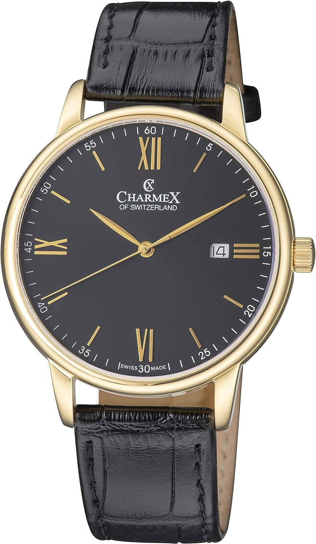 Charmex of Switzerland Charmex Amalfi Luxury Swiss Made Men's Watch Sapphire Crystal Black Leather Strap 42mm Stainless Steel Case CX-3017