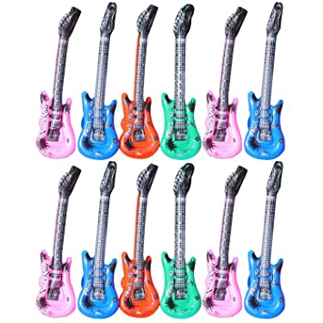 12pcs Inflables De Juguete forma de guitarra musicales accesorios decorativos para piscina fiesta aniversario de la ...