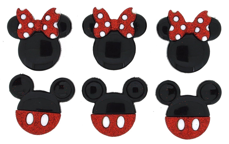 Mickey and Minnie Glitter Dress It Up 7718 Disney Button Embellishments