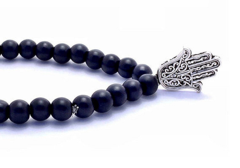 Hamsa Charm Bracelet Black Obsidian bracelet hand of fatima protection bracelet lava stretch black bead bracelet matte black mens bracelet