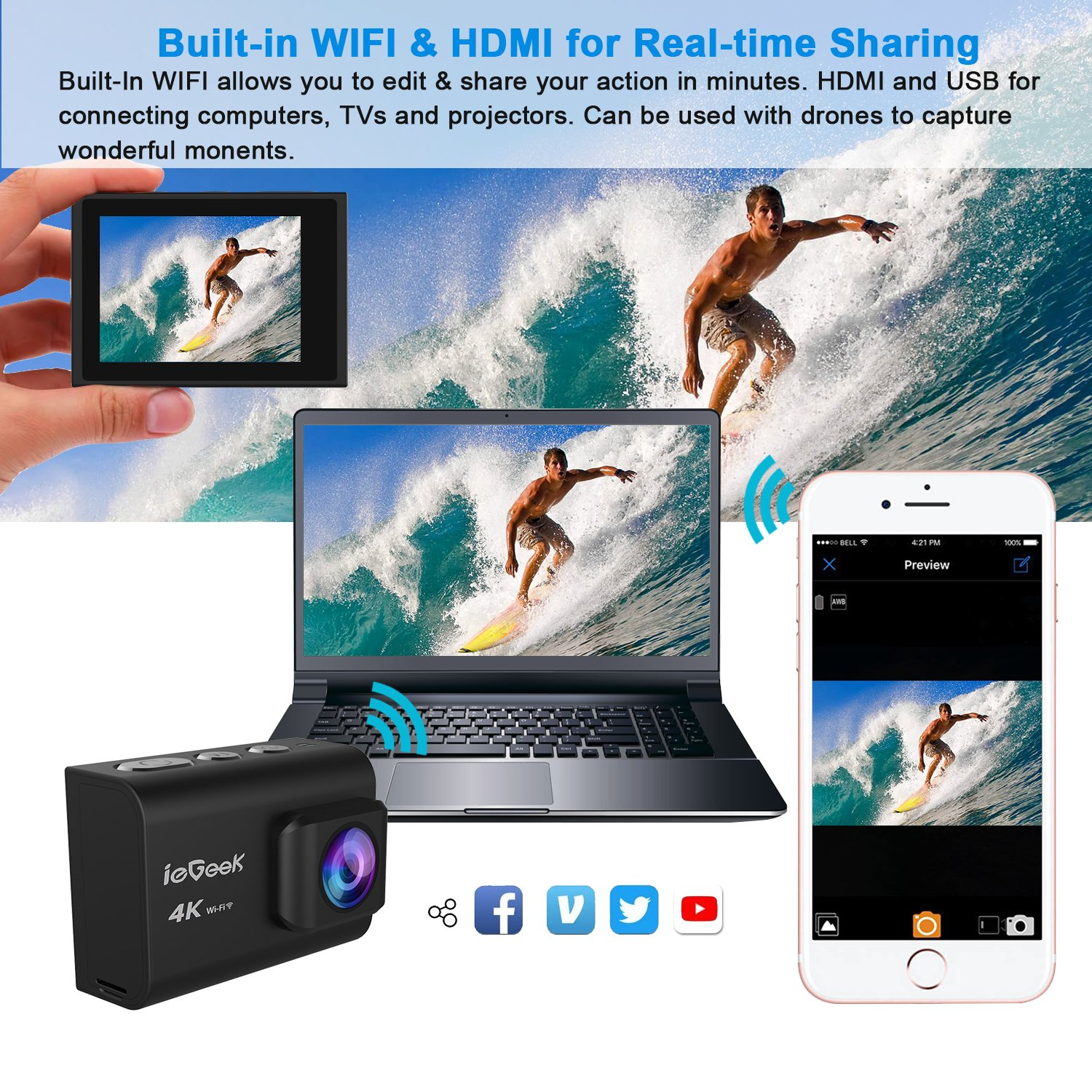 Action Camera, ieGeek 4K 20MP WiFi Waterproof Sports Cam Ultra HD Underwater Camera DV Camcorder EIS Image Stabilizer 170 Degree Wide-Angle with 2 Battery/External Microphone/Carry Case/Accessory Kit by ieGeek (Image #5)