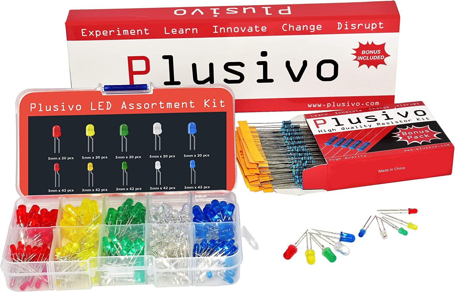 3mm and 5mm Diffused LED Light Emitting Diode Assortment Kit - Pack of Assorted Color Diffused LEDs (310pcs) and Resistors - Red, Yellow, Green, Blue and White LED Indicator Lights from Plusivo
