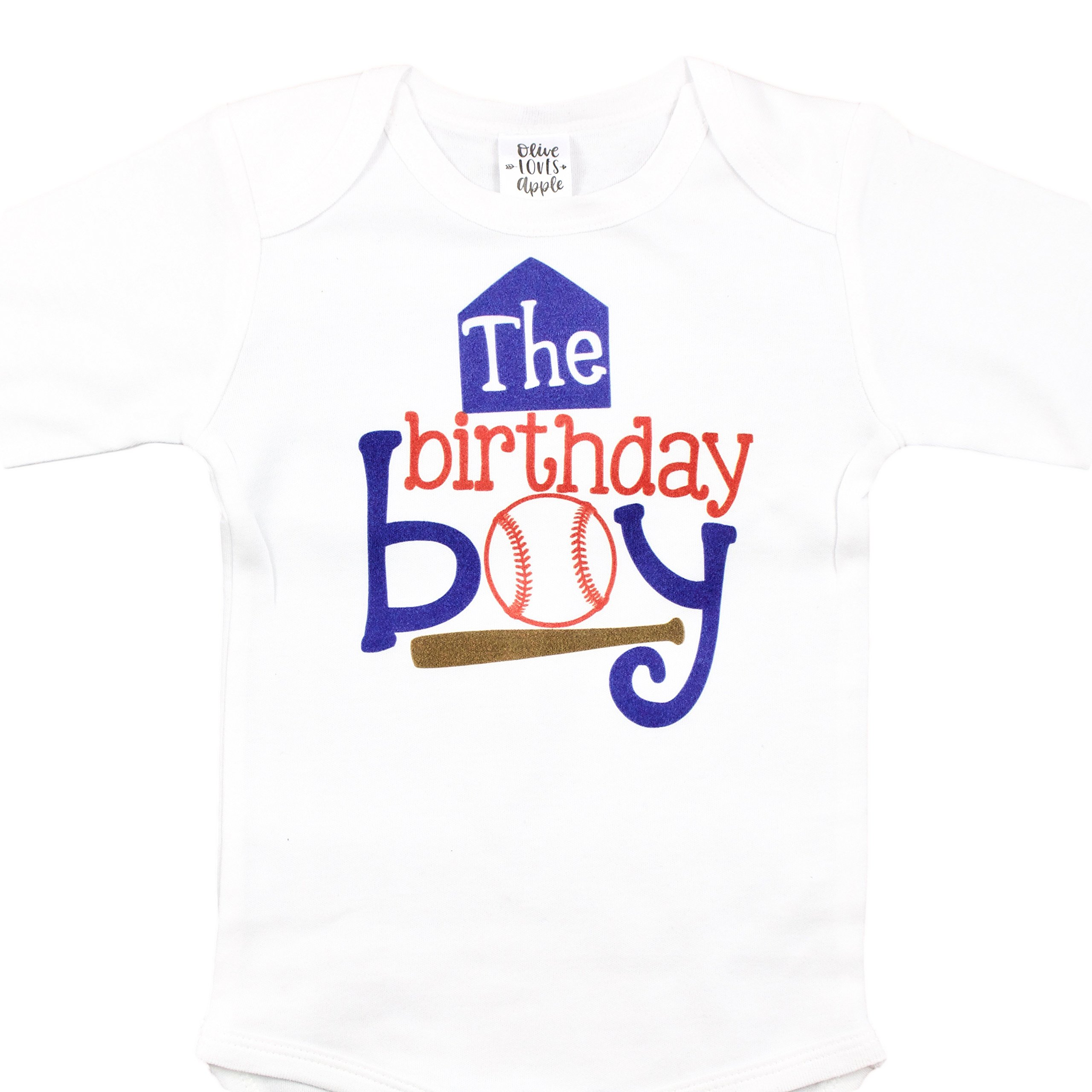 The Birthday Boy Baseball Theme 1st Birthday Bodysuit For Baby Boys Blue Red and Brown Baseball Outfit
