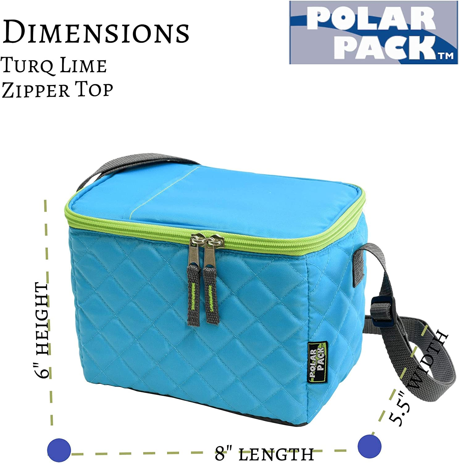 POLAR PACK Quilted 6 Can Cooler Handle Carry Cooler Bag Soft Portable Insulated Picnic Bag Outdoor Indoor Travel Lunch Box for Events Camping Hiking School Travel /& Sports