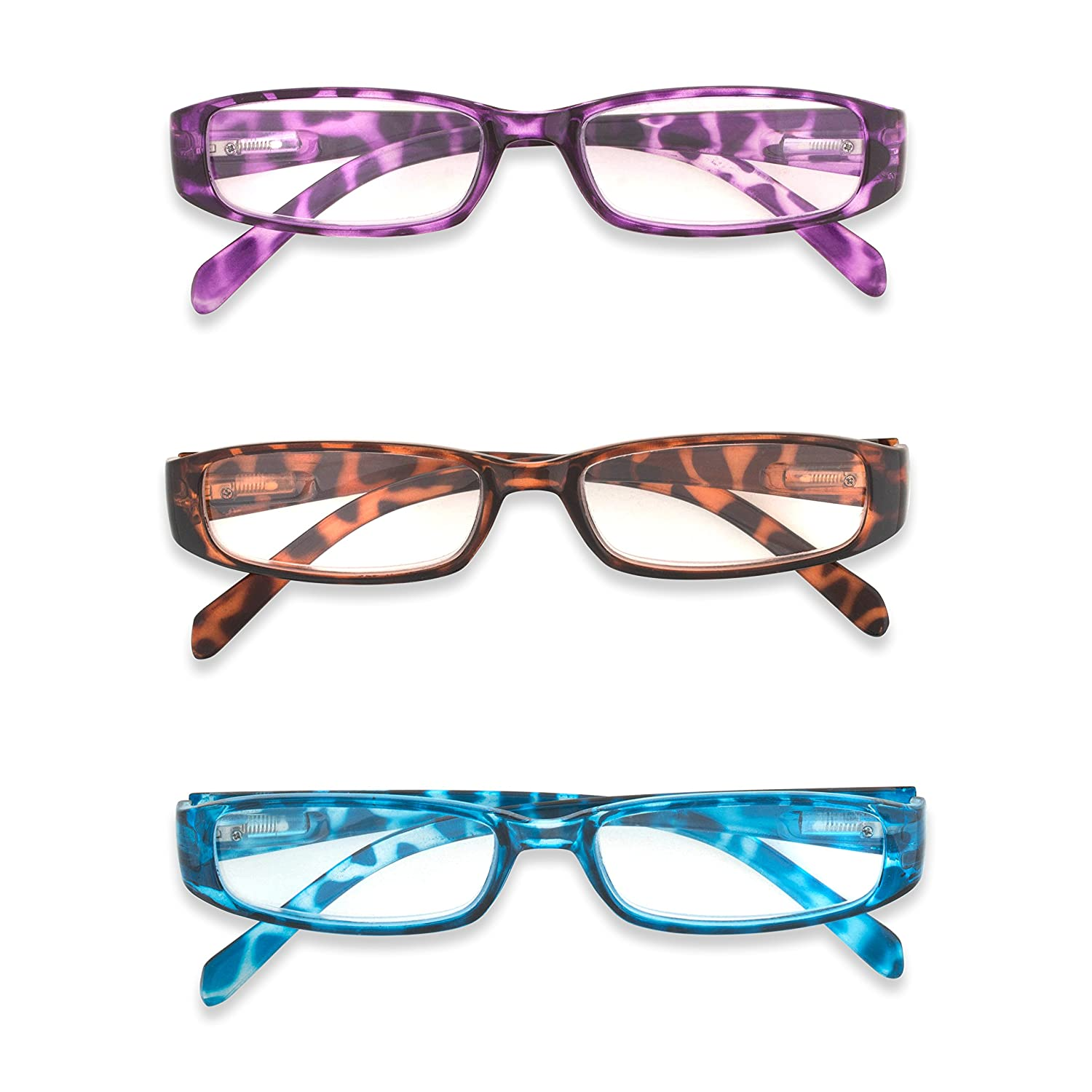 0138aa3dfb5e Amazon.com  Inner Vision Women s 3-Pack Leopard Print Reading Glasses Set  w Spring Hinges - (2.25 x Magnification) - Purple