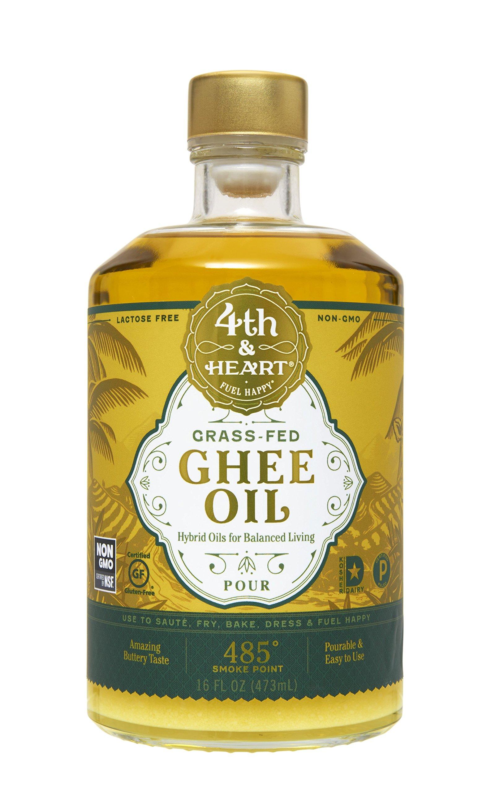Grass-Fed Ghee Oil by 4th & Heart, 16oz, Non-GMO Verified Hybrid Oil, Balanced Omega Fatty Acids, Paleo Approved, Keto-Friendly