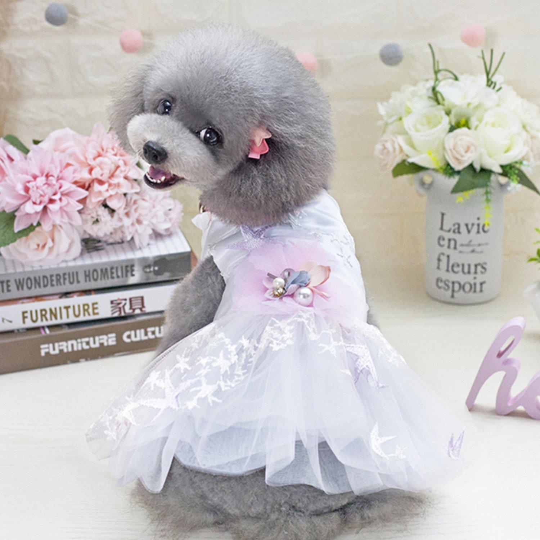 White Small White Small Small Dog Girl Dress, Bowknot Princess Clothes,Thin Cute Floral Princess,Cowboy Denim Skirt Dress Ribbon Skirt,Puppy Dog Dress,White,S