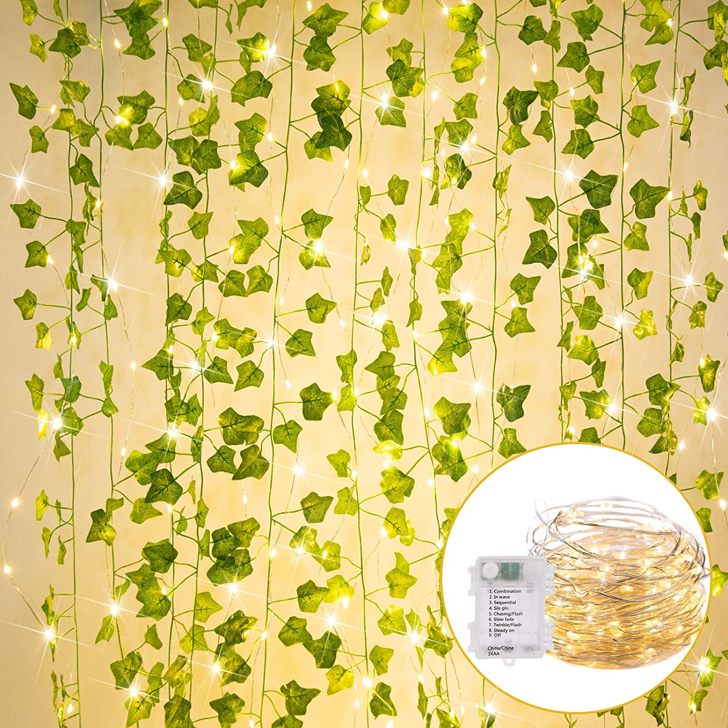 36 Ft. String Lights with Vines Battery Operated 12 Pcs 7 Ft. Artificial Ivy Vine 110 LED Vine Lights 8 Modes Ivy Lights for Bedroom Room Wall Wedding Indoor Party Festival Decor (Warm White)