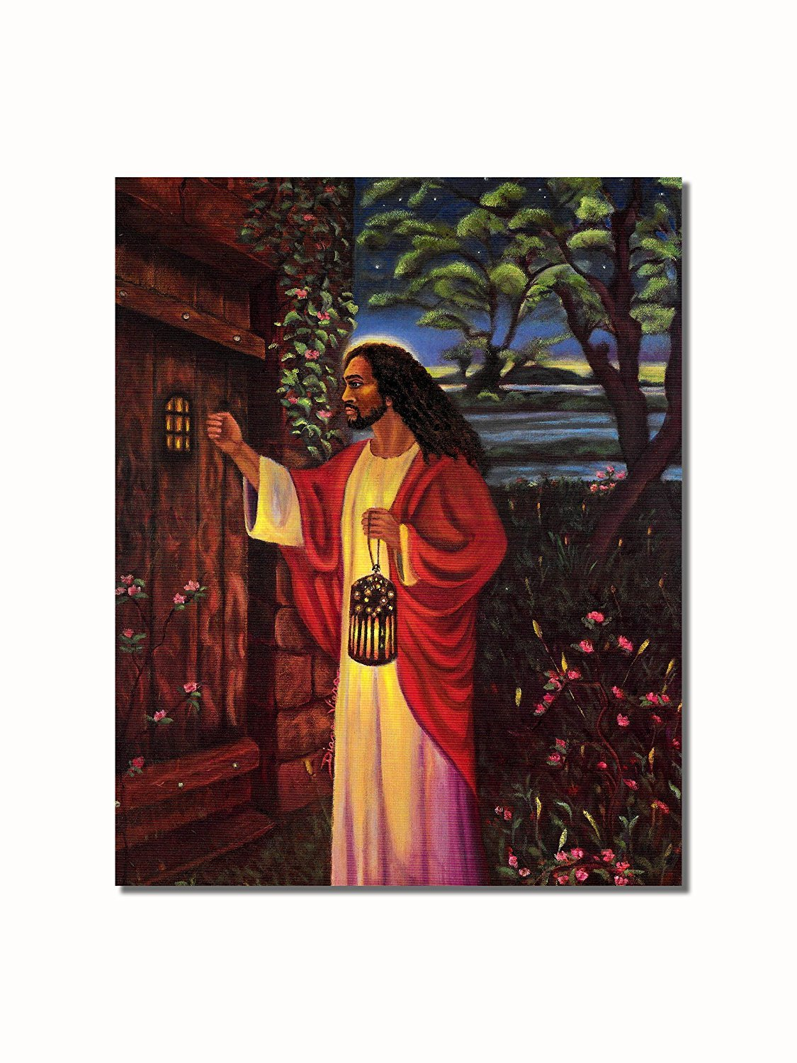 African American Black Jesus Knocking at Your Door Wall Picture (28x24)