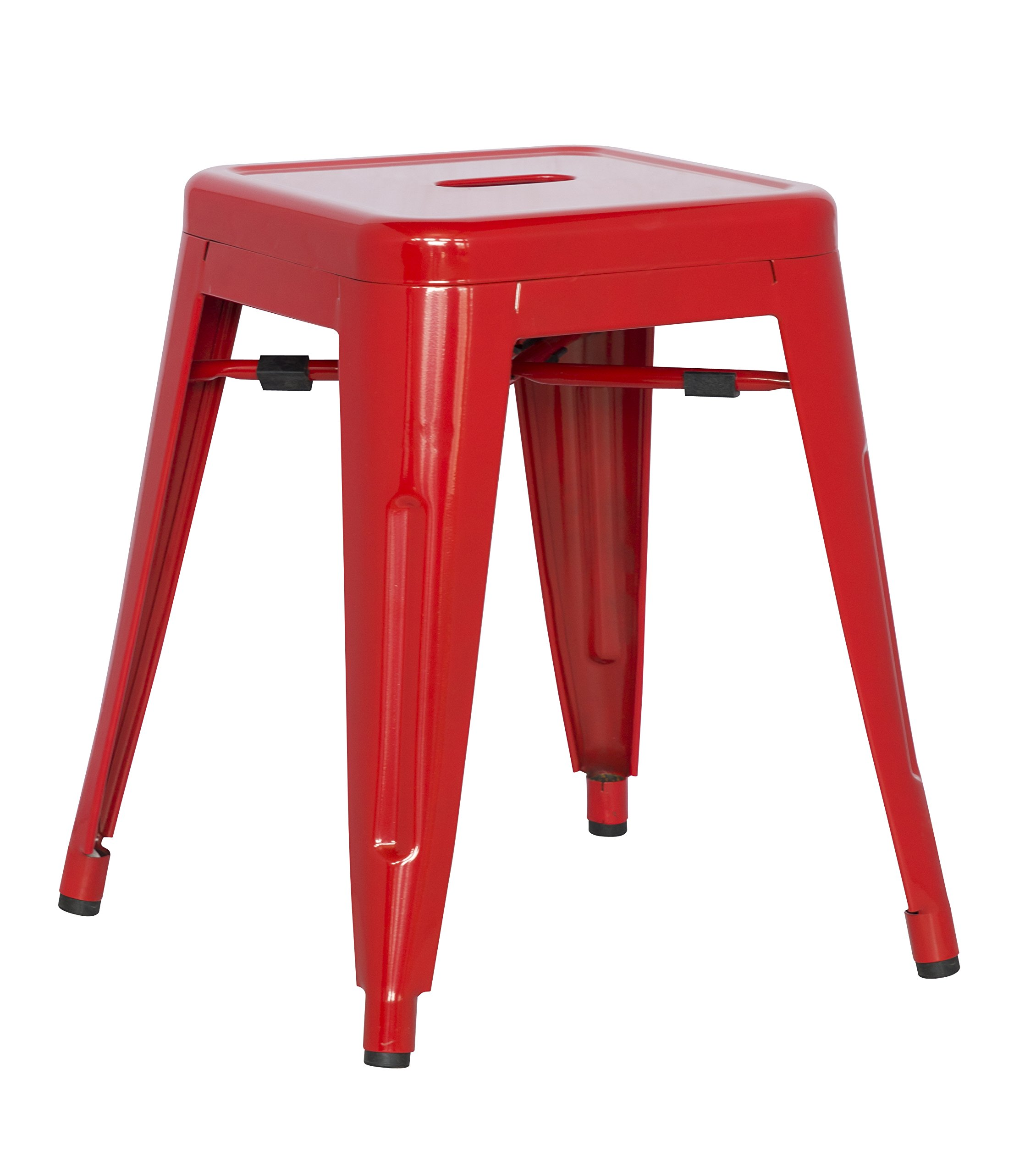 Milan India Galvanized Steel Side Chair, Set of 4, Red