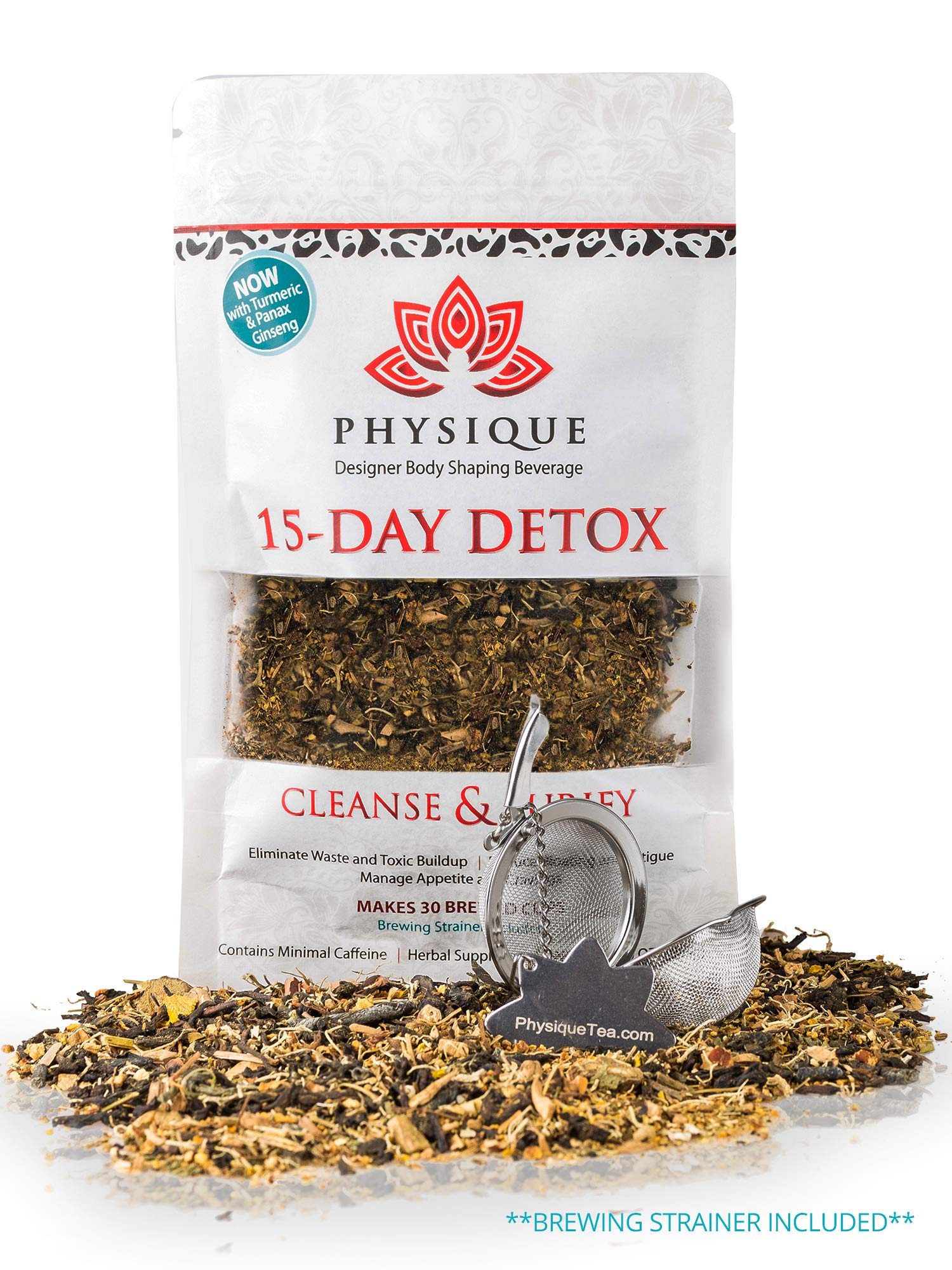 15 Day Total Body Cleanse and Weight Loss Tea | Reduce Bloating & Hunger | Garcinia Cambogia & Turmeric Premium Blend | Anti-Inflammatory & Laxative Free Teatox | Free Strainer & Detox Diet Included