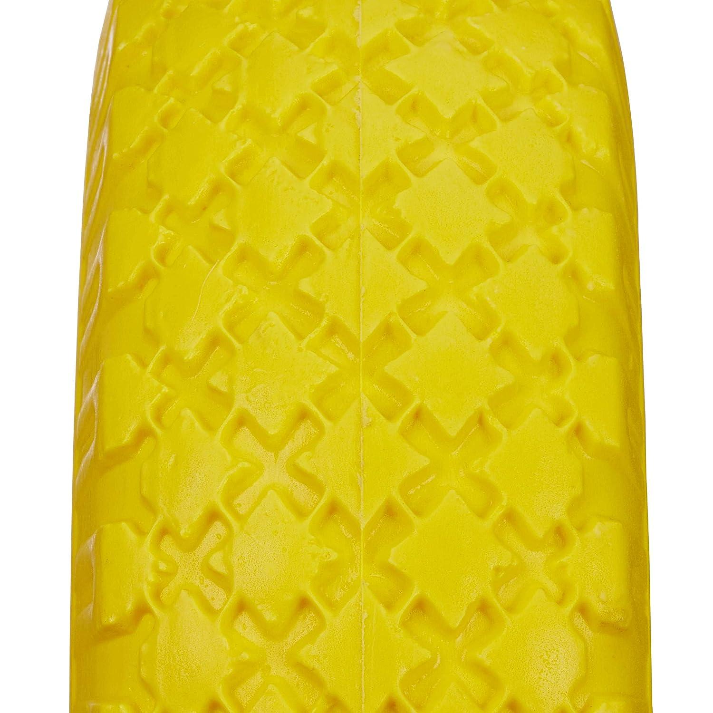 Relaxdays 4 x Sackkarrenrad im Set 3.00-4 PU Vollgummireifen pannensicher Stahlfelge gelb-rot 25mm Achse 260x85mm 100kg