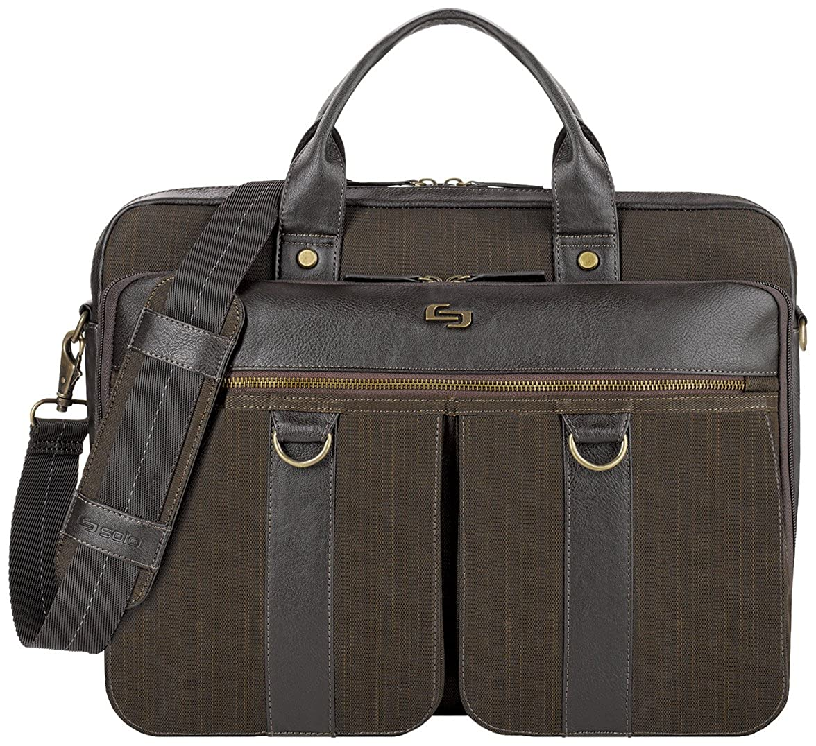 Solo Mercer Briefcase(EXE335) 15.6' Laptop Briefcase, Bradford Collection Brown SOLOD EXE335-3