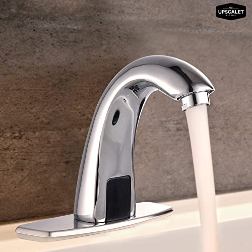 Automatic Touchless Bathroom Sink Faucet with Hole Cover Plate, Sensor Hands Free Bathroom Water Tap with Control Box and Temperature Mixer, Residential and Commerical