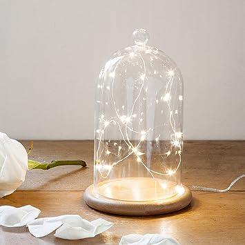 Deko Glasglocke mit 20er Micro Draht Lichterkette perlweiß 19cm ...