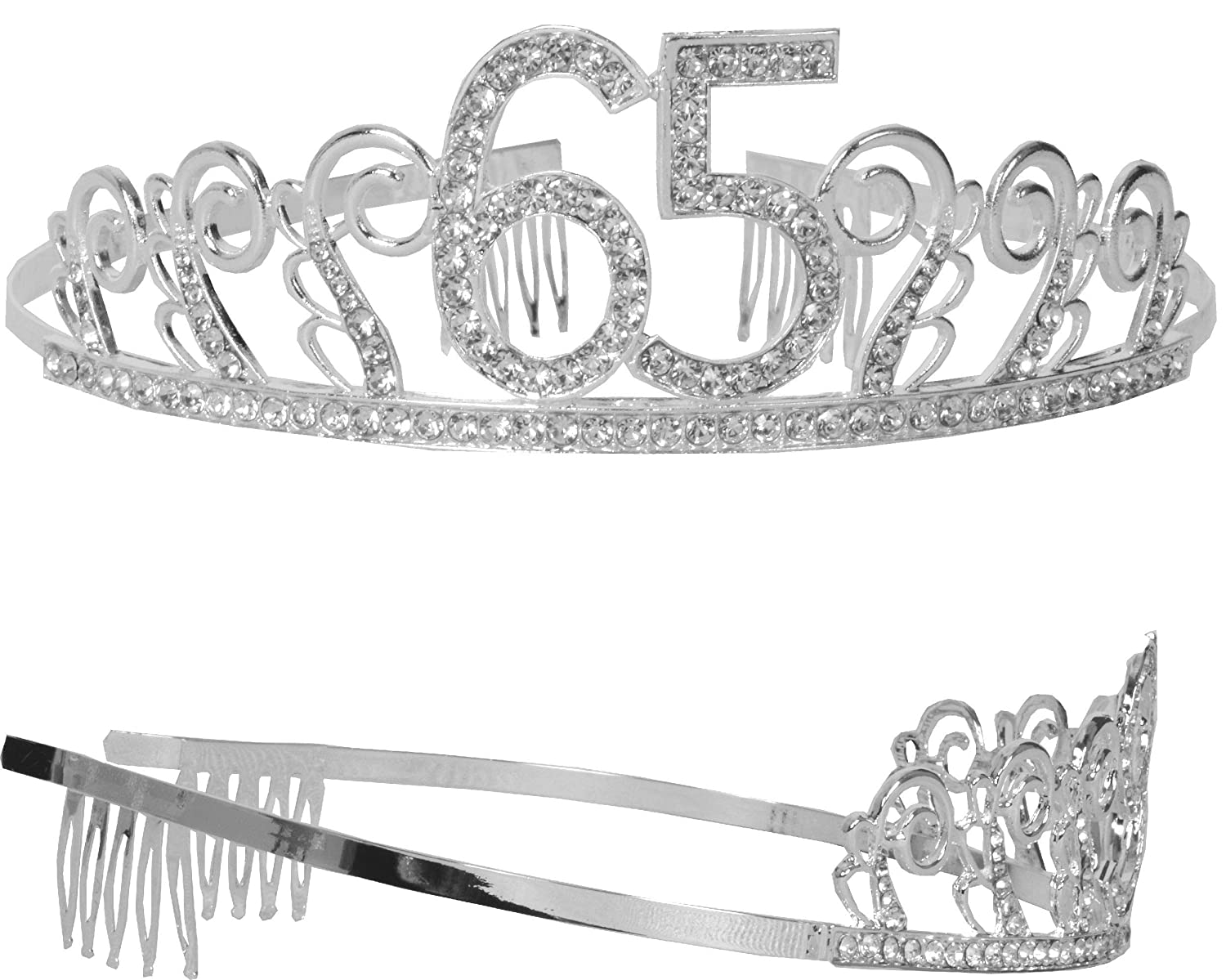 HAPPY 65th Birthday Party Supplies Tiara+Sash 65th Birthday Tiara and Sash 65th Glitter Satin Sash and Crystal Tiara Birthday Crown for 65th Birthday Party Supplies and Decorations Meant2ToBe