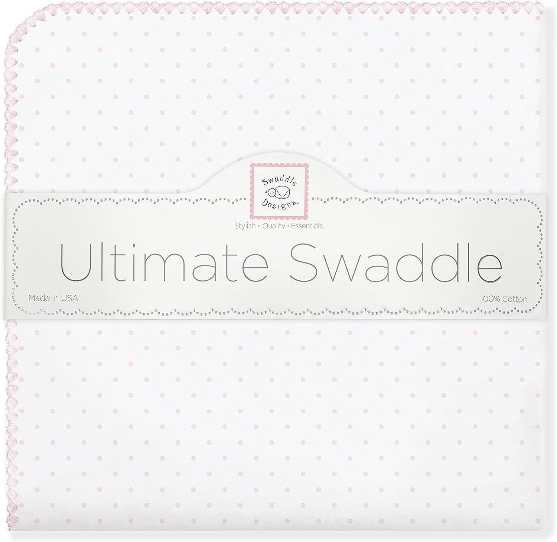 Franela de Algod/ón de calidad superior Rosa pastel SwaddleDesigns Manta Envolvente Ultimate Lunares