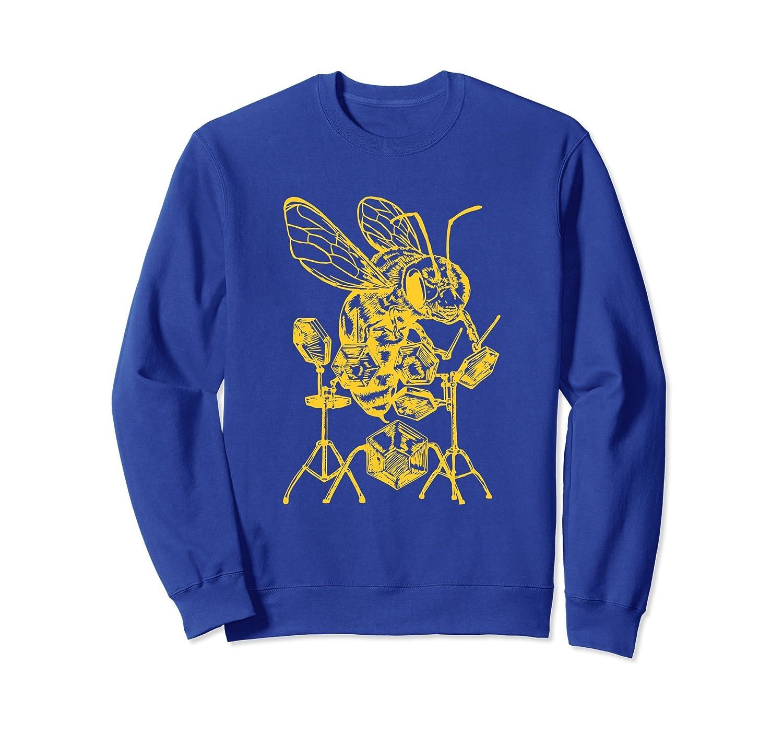 SEEMBO Bee Playing Drums Drummer Sweatshirt Drumming Gift-AZP