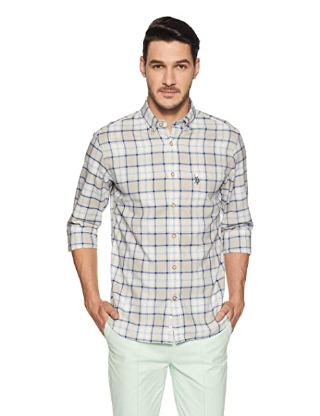 70d58d17a2a US Polo Men s Checkered Regular Fit Casual Shirt  Amazon.in  Clothing    Accessories