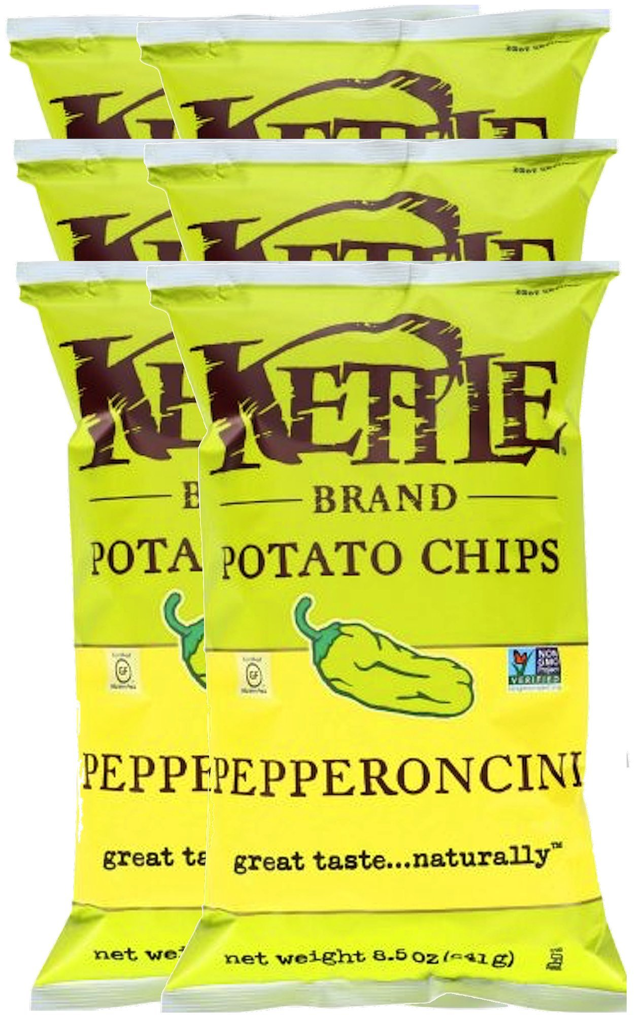 Kettle Brand Kettle Gluten Free Chips Pepperoncini 8.5oz Snack Care Package for College, Military, Sports (6)