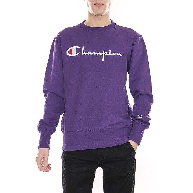 Dettagli su Champion Logo Felpa Viola Uomo