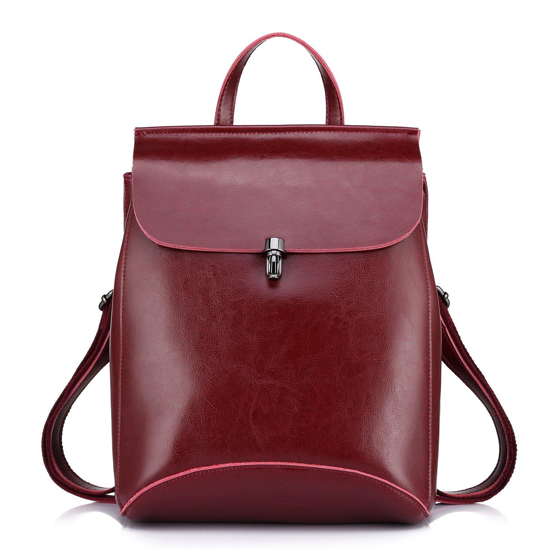 Realer Realer Realer Echtes Leder Rucksäcke Geldbörsen für Frauen Schultertasche Rot B06XBZWJ7K Rucksackhandtaschen Billig ideal cdbcfb