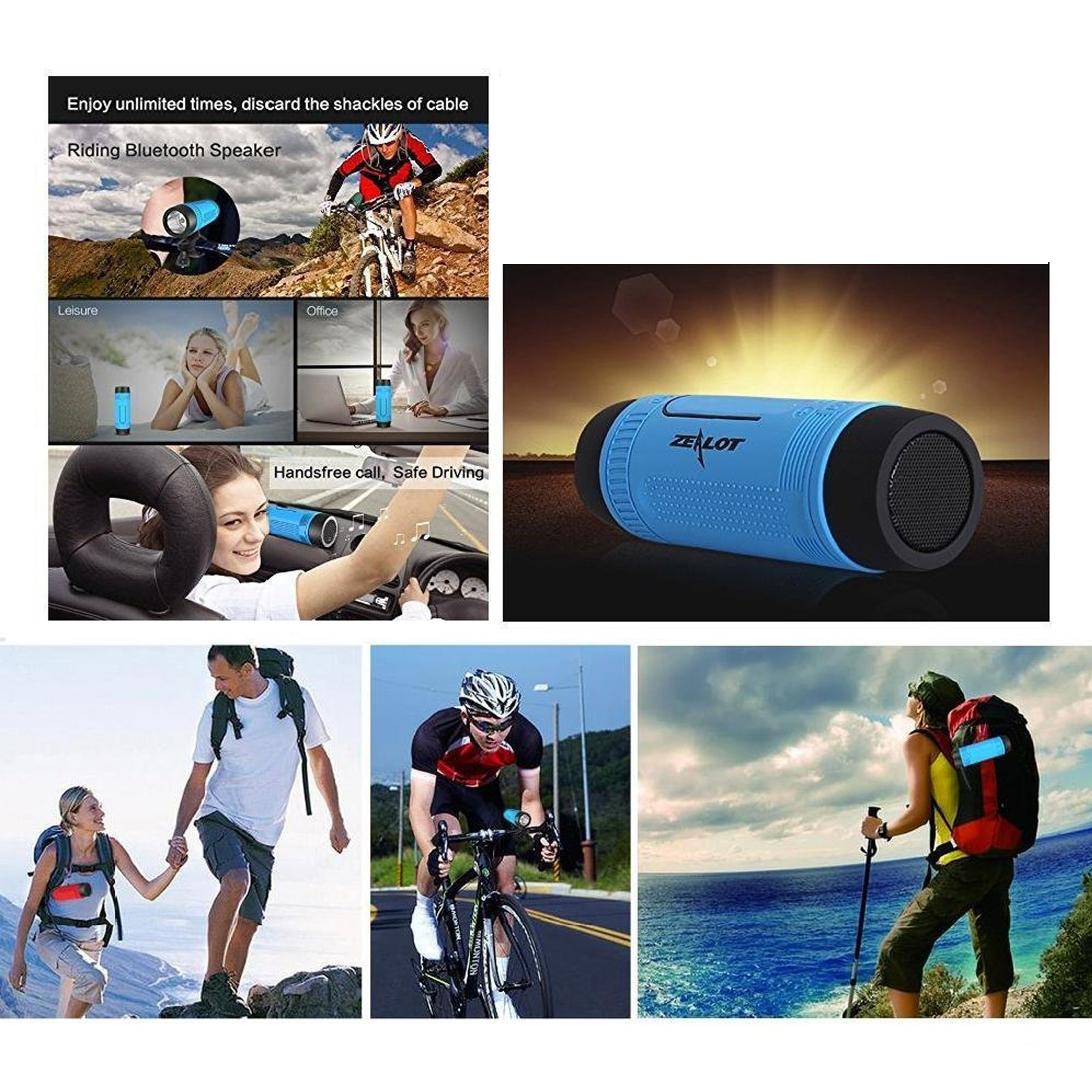 Portable Multifuctional Wireless Bluetooth Speaker 4000mAh Rechargeable Power Bank 3 Mode Emergency Flashlight Handsfree Answering Phone Call TF Card Music Player Mounting Mracket Screw Hole (Blue) by Teastar (Image #3)