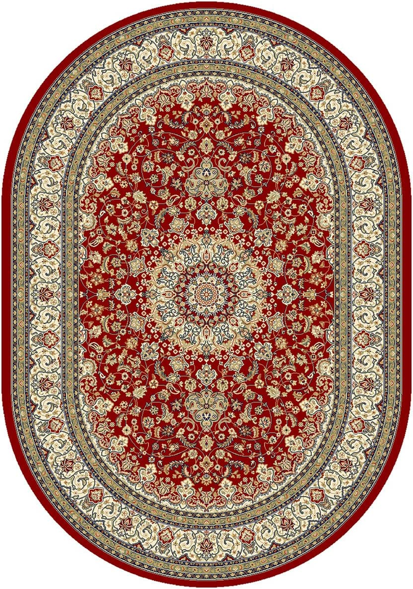 """Dynamic Rugs Ancient Garden Collection Area Rug, 5'3"""" by 7'7"""", Red/Ivory"""