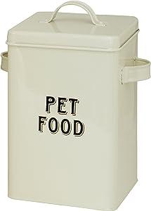 Maturi Cream Metal Pet Food Storage Container Tin with Scoop