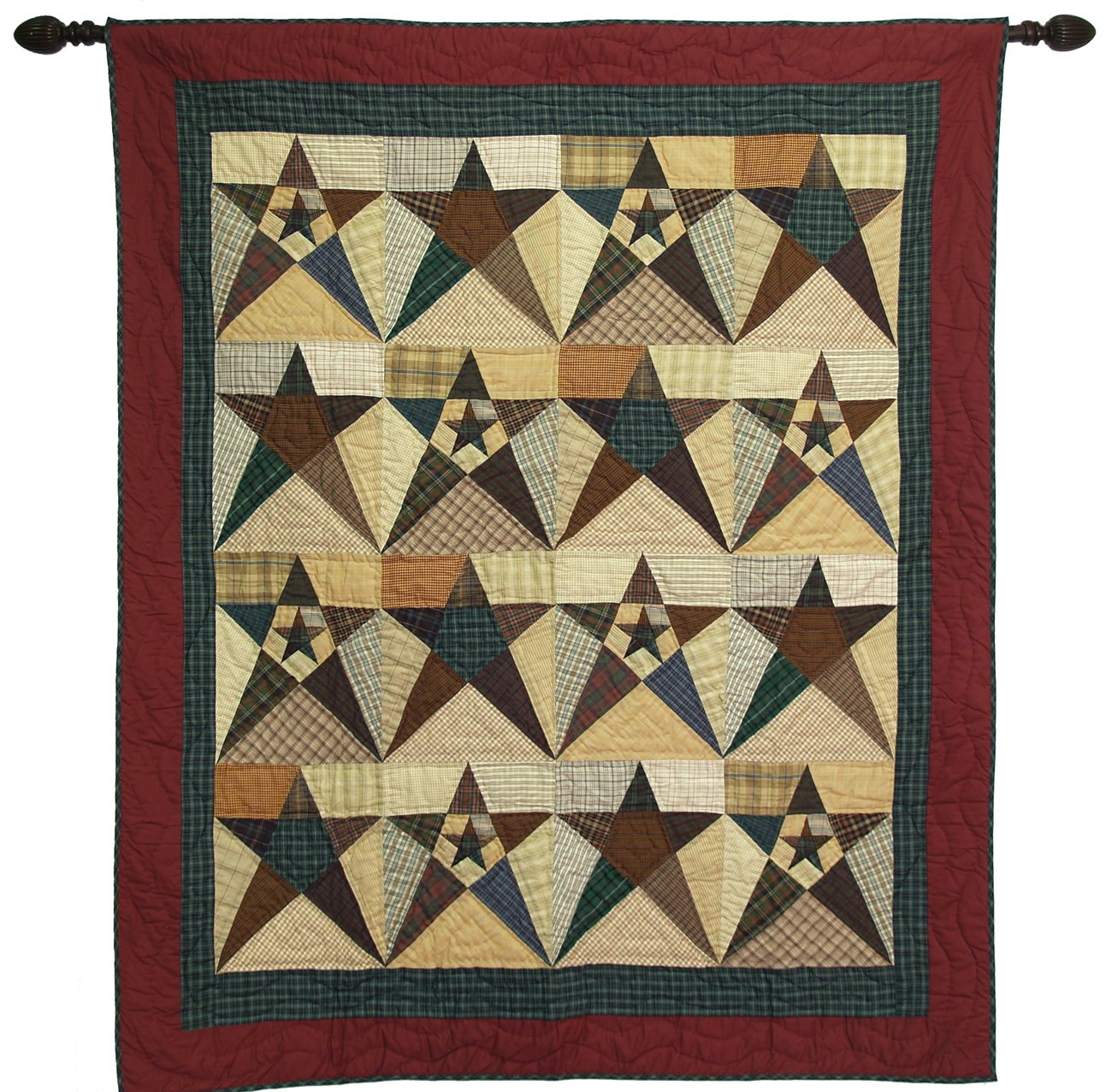 Primitive Star Large Wall Hanging Throw Quilt 50 Inches by 60 Inches 100% Cotton Handmade Hand Quilted Heirloom Quality